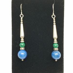Sterling Silver Blue Agate & Green Stone Earrings